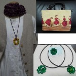 創作バッグとガラスアクセサリーと洋服